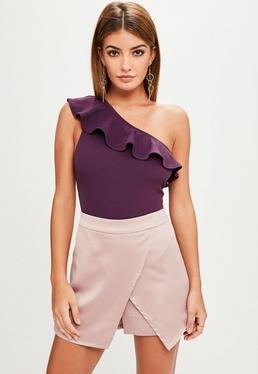 Purple One Shoulder Bodysuit