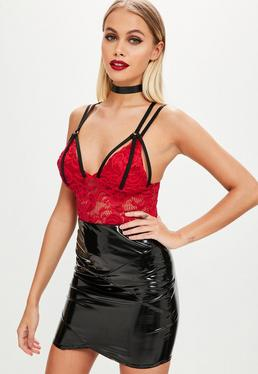 Red Harness Lace Bodysuit