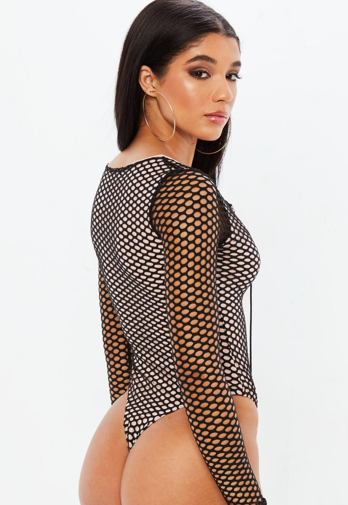 02ebcbb1974 Missguided - Black Fishnet Long Sleeve Bodysuit