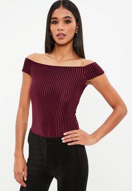Burgundy Rib Velvet Bardot Bodysuit