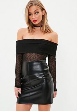 Black Lace Bardot Bodysuit