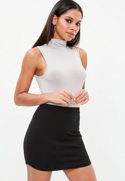 Grey Roll Neck Sleeveless Bodysuit