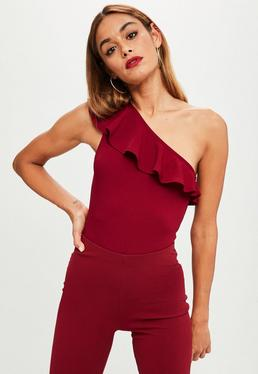 Burgundy Frill One Shoulder Bodysuit