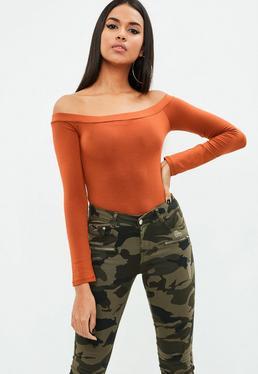 Orange Bardot Long Sleeve Bodysuit