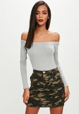 Grey Bardot Long Sleeve Bodysuit