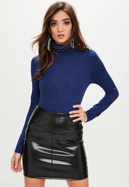 Blue Roll Neck Bodysuit