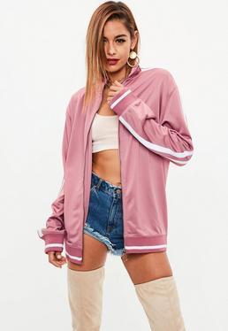 Pink Oversized Side Stripe Tracksuit Top