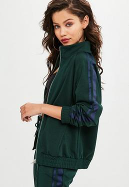 Green Side Stripe Tracksuit Top