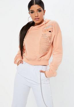 Coral Distressed Chainmail Hoody