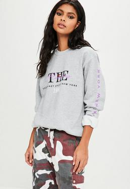 Gray The Hamptons Slogan Sweatshirt