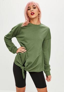 Khaki Knot Hem Long Sleeve Sweatshirt