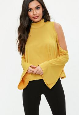 Yellow Cold Shoulder Flared Sleeve Top