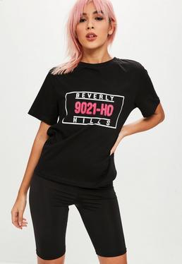 Czarny T-shirt z napisem Beverly Hills
