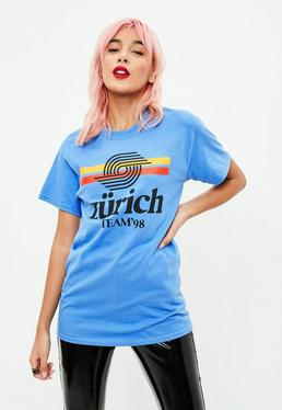 Blue Zurich 98 Slogan T-Shirt