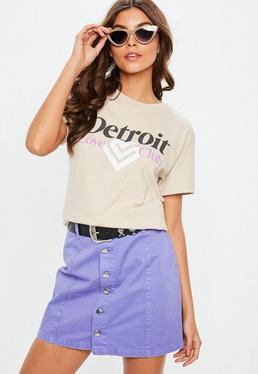 Beige Detroit Slogan Print T-shirt