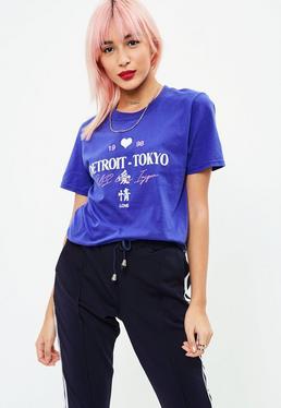 Blue Tokyo Print Tshirt