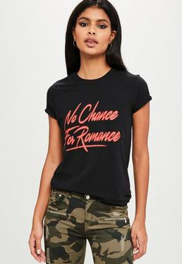 Black No Chance For Romance T-Shirt