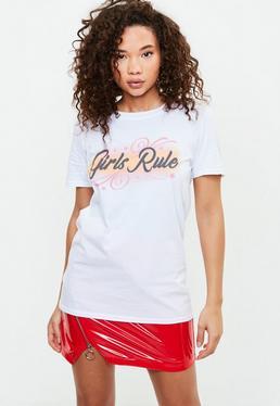 Camiseta con eslogan Girls Rule en blanco