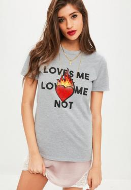 Grey Loves Me Loves Me Not Sequin T Shirt