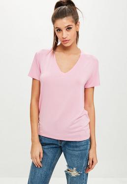 Pink V Neck Boyfriend T-shirt