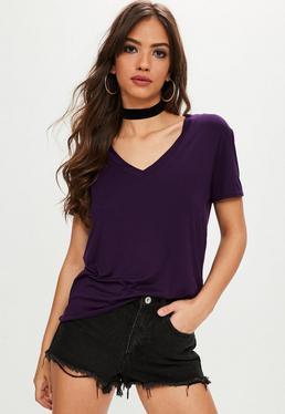 Purple V-neck Boyfriend T-shirt