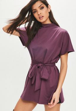 Purple Tie Waist Side Split Tunic Top