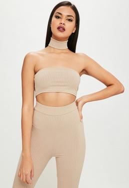 Carli Bybel x Missguided Nude Ribbed Bandeau Top