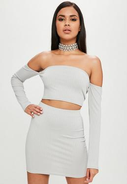 Carli Bybel x Missguided Gray Bardot Crop Top