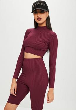 Carli Bybel x Missguided Burgundy Ribbed High Neck Top
