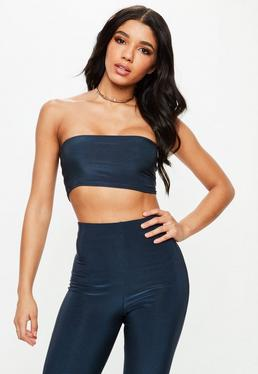 Carli Bybel x Missguided Navy Slinky Bandeau Top