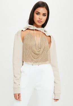 Carli Bybel x Missguided Cream Extreme Cut Out Sweater