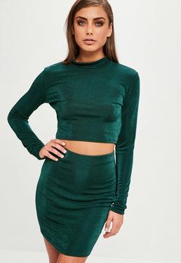 Green Slinky Crop Top