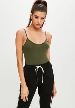 Khaki Cami Strap Bodysuit
