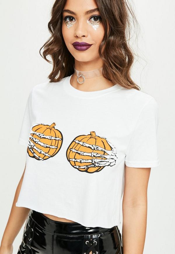 White halloween pumpkin bra t shirt missguided for White bra white shirt