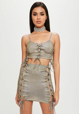 Carli Bybel x Missguided Gold Glitter Crop Top