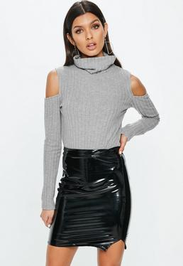 Gray High Neck Ribbed Ruched Sleeve Bodysuit