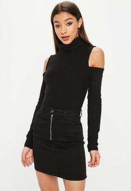 Black Cold Shoulder High Neck Ribbed Bodysuit