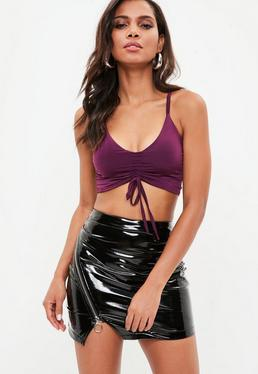 Purple Slinky Ruched Front Bralet