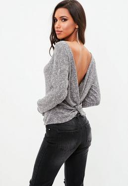 Grey Knot Back Long Sleeve Top