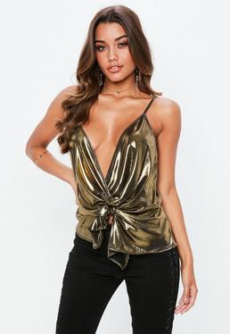Bronze Metallic Twist Front Cami Top