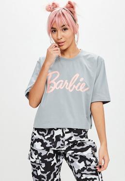 Barbie x Missguided Szary krótki T-Shirt z logo