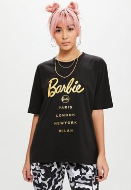 Barbie x Missguided Czarny T-Shirt z błyszczącym logo