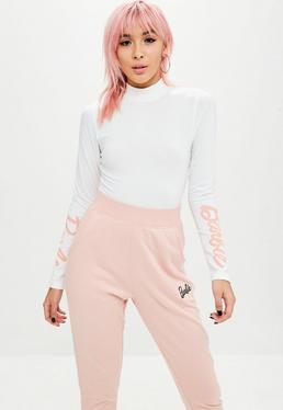Barbie x Missguided Body de cuello alto en blanco