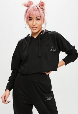 Barbie x Missguided Black Hotfix Cropped Hooded Sweatshirt
