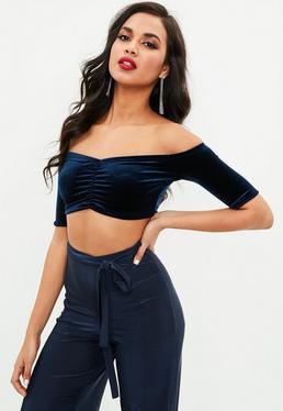 Navy Velvet Ruched Bardot Crop Top