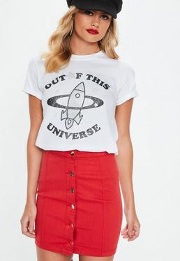 White Out Of This Universe Embellished T Shirt