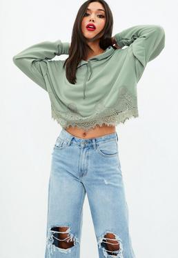 Khaki Lace Hem Cropped Hoody