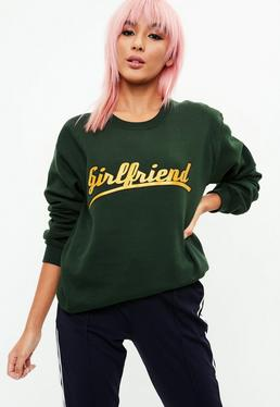 Green Girlfriend Slogan Sweatshirt
