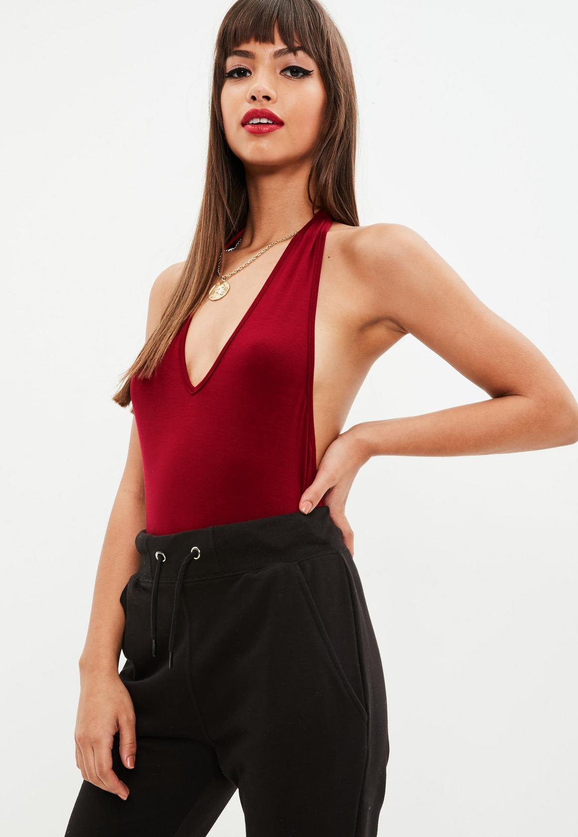 fe3af157df65 Missguided Red Deep Plunge Halter Neck Bodysuit, Red at £10 | love ...