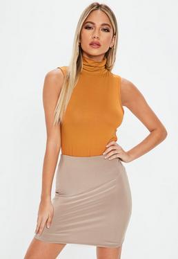 Brown Roll Neck Sleeveless Bodysuit
